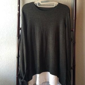 Simply Vera Gray Sweater w/Faux Hi-Lo Undershirt
